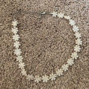 White Floral Lace Choker